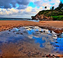 Puddles - Warriewood Beach - The HDR Series by Philip Johnson