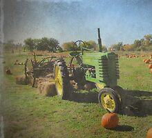 John Deere Tractor Harvest Time Photograph Textured by Adri Turner