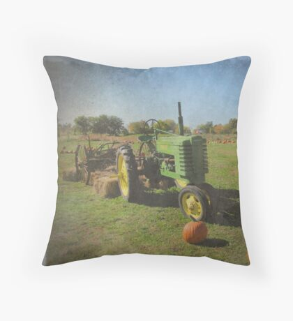John Deere Tractor Harvest Time Photograph Textured Throw Pillow