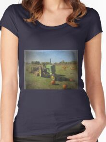 John Deere Tractor Harvest Time Photograph Textured Women's Fitted Scoop T-Shirt