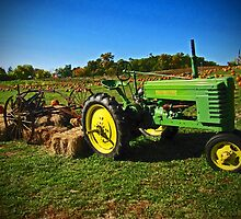 John Deere Tractor Autumn Harvest and Pumpkin Photograph by Adri Turner