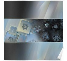 Daybreak, snowflake photo collage Poster