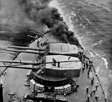 BATTLESHIP ABLAZE IN MID-OCEAN. Owing to the perfect organization of the crew of a thousand or more men on a superdreadnought 1917 by Adam Asar