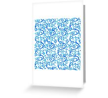 Vintage Swirl Floral Blue on White Greeting Card