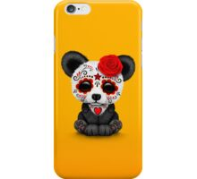 Red Day of the Dead Sugar Skull Panda on Yellow iPhone Case/Skin
