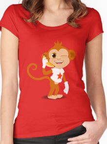 Funky Monkey On the Phone Women's Fitted Scoop T-Shirt