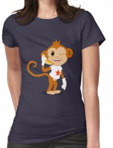Funky Monkey On the Phone Womens Fitted T-Shirt