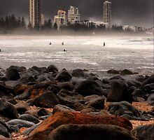 Storm Clouds At Burleigh Beach  by Nickie