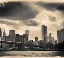 Postcard, sepia skyline of New York City from the East River by Reinvention