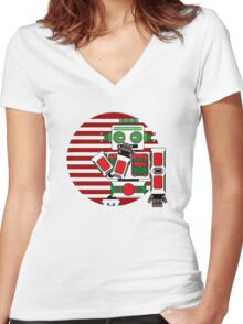 Robot Is Tired Women's Fitted V-Neck T-Shirt