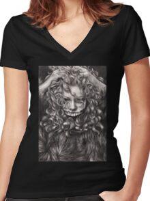 girl, invisible monsters Palahniuk, horror, face, dark, eyes Women's Fitted V-Neck T-Shirt