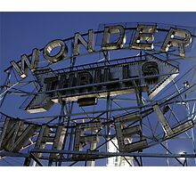 "Vintage ""Wonder Wheel Thrills"" sign at the Astroland amusement park at Coney Island  Photographic Print"