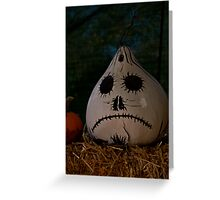 sad scary halloween gourd Greeting Card