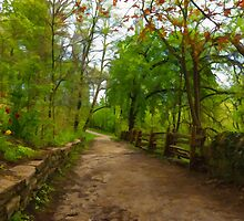 Dreamy Forest Road With Flowers - Impressions Of Spring by Georgia Mizuleva