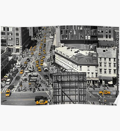 Black and white photograph of a busy Manhattan intersection in the Meatpacking District, with highlighted yellow cabs  Poster