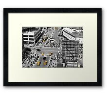 Black and white photograph of a busy Manhattan intersection in the Meatpacking District, with highlighted yellow cabs  Framed Print