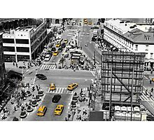 Black and white photograph of a busy Manhattan intersection in the Meatpacking District, with highlighted yellow cabs  Photographic Print