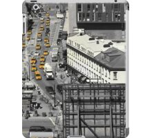 Black and white photograph of a busy Manhattan intersection in the Meatpacking District, with highlighted yellow cabs  iPad Case/Skin