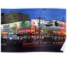 Nathan's famous hot dogs kiosk in Coney Island, at dusk Poster