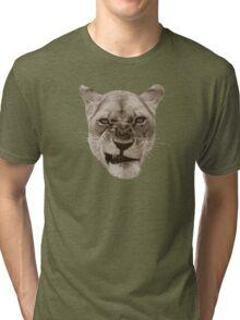 Annoyed Snarling Lion Cat Tri-blend T-Shirt