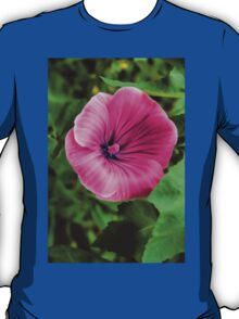 Early Summer Blooms Impressions – Bright Pink Malva Vertical T-Shirt