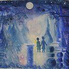 Two little boys in an enchanted, moonlit garden..... by Heidi Norman