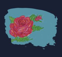 Digitally painted rose One Piece - Short Sleeve