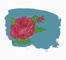 Digitally painted rose Kids Clothes