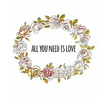 All you need is love - Beatles Love Quote + Vintage Illustration Print by twisttheprint