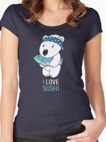 Japanese Sushi Bear Women's Fitted Scoop T-Shirt