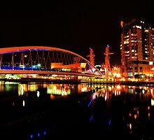 SALFORD QUAYS LIFT BRIDGE AT NIGHT by MIKESCOTT