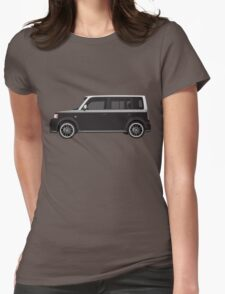 Vectored Boxcar Two Tone Silver/Black Womens Fitted T-Shirt