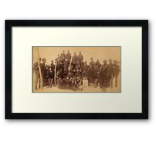 Buffalo soldiers of the 25th Infantry, some wearing buffalo robes, Ft. Keogh, Montana 1889 Framed Print