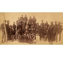 Buffalo soldiers of the 25th Infantry, some wearing buffalo robes, Ft. Keogh, Montana 1889 Photographic Print