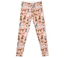 Dogs Dogs Dogs - Pink Background Leggings