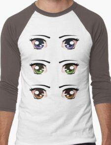 Cartoon female eyes 5 Men's Baseball ¾ T-Shirt