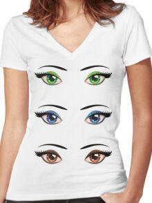 Cartoon female eyes 4 Women's Fitted V-Neck T-Shirt