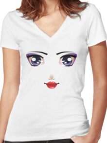 Cartoon female face 5 Women's Fitted V-Neck T-Shirt