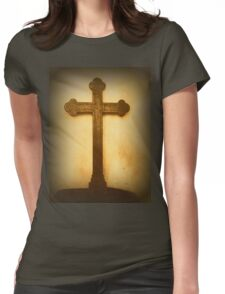 Wooden Altar Cross Womens Fitted T-Shirt
