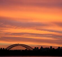 sydney harbour bridge on fire by Sonia de Macedo-Stewart