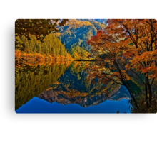 Autumn Reflection in Mirror Lake, Jiuzhaigou Canvas Print