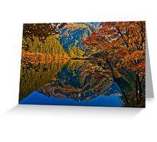 Autumn Reflection in Mirror Lake, Jiuzhaigou Greeting Card