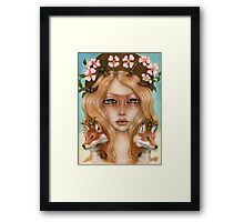 Solstice fox woman portrait Framed Print