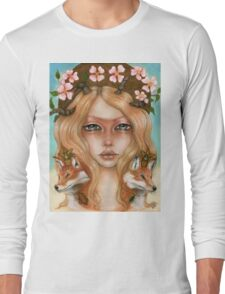 Solstice fox woman portrait Long Sleeve T-Shirt