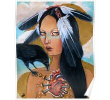 Wounded crow sacred heart woman portrait Poster