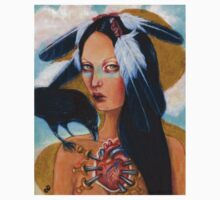 Wounded crow sacred heart woman portrait T-Shirt