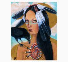 Wounded crow sacred heart woman portrait Unisex T-Shirt