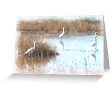 Egrets Fishing Greeting Card