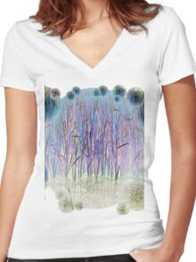Light Blue Reeds-Available As Art Prints-Mugs,Cases,Duvets,T Shirts,Stickers,etc Women's Fitted V-Neck T-Shirt