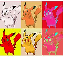 Pikachu collection of distorted colours Photographic Print